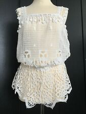 EBERJEY BNWT S/S 2016 COTTON OFF WHITE LACE COVER-UP PLAYSUIT SIZE S/M RRP £195