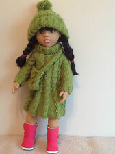 "Dolls Fashion clothes knitting  pattern. 18"" doll. Cable dress set."