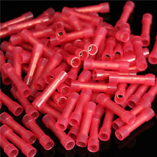 100 pcs Pack 22-18GA AWG Wire Red Nylon Butt Connectors Crimp Terminals Alarm UL