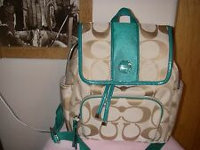 MWT Coach Khaki/Jade signature C backpack handbag purse, # F21928