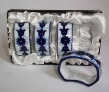 BOMBAY COMPANY NAPKIN RINGS SET OF 4 WHITE & BLUE  CHINA NAPKIN HOLDERS