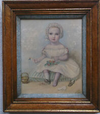 FRAMED WATERCOLOUR PAINTING by J.T.WILSON 1853 STUDY OF A BABY GIRL IN A BONNET