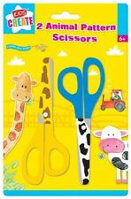 PACK OF 2 ANIMAL PATTERN SAFETY SCISSORS FOR CHILD KIDS CARD MAKING ART CRAFT