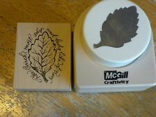 McGill Birch Leaf Punch and Matching Rubber Stamp from Serendipity Stamps  Rare!