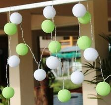 Two Tone Green & White Cotton Ball BATTERY LED Fairy Lights 20 Light Balls