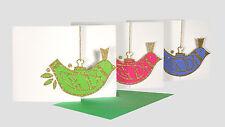 36 babioles oiseau découpe Cartes de Noël avec Enveloppe Vert