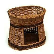 Cat Bed Wicker Oval 2 Tier Basket House Hand Crafted Two Cushions Provided