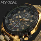 Luxury Men's Date Gold Stainless Steel Band Quartz Analog Business Wrist Watch