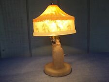 Vtg Frosted Glass Clown Carousel Pull Chain Table Desk Lamp Light Fixture As-Is