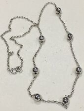 """14K White Gold Beaded Necklace 17"""""""