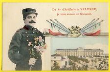 cpa Superbe 26 - VALENCE Souvenir du 6e Régiment d'ARTILLERIE Caserne Soldat