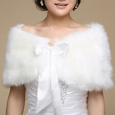 Elegant Ivory Plush Faux Fur Wrap Shrug Shawl Cape Bridal Wedding Jacket (B)