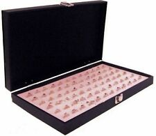 Solid Top Lid Pink 72 Ring Jewelry Display Box Case