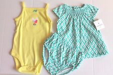 Carter's Aqua & White Dress with Yellow Bodysuit Outfit Infant Girl Size Newborn