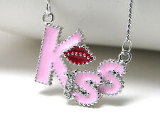 """KISS Pink Epoxy Whitegold Plating Red Lips Pink Kiss Crystal Love 16""""  Necklace"""