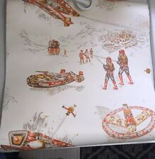 NOS Vintage  Sci-Fi Outer Space UFO  Wallpaper Roll Star Wars Spaceships 1970s