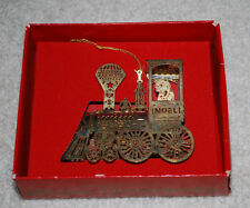 Giftco Brass Ornament Christmas Noel Train Holiday Gold Plated Vintage w/ Box