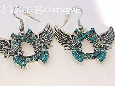 BLUE GUN WESTERN WINGS GUNS PISTOLS CROSS EARRINGS COWGIRL RODEO CONCEALED CARRY