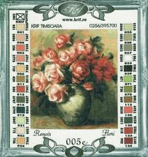 Renoirs Pink and White Roses in Gold Urn - Flori Needlepoint Canvas