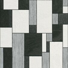 Rasch Plaisir 3 Black and White Textured Blocks Wallpaper 455427