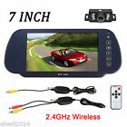 Wireless Car Reverse Rear View Backup Camera+7 Inch TFT LCD Mirror Monitor Kit