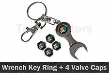 Alfa Romeo Spanner Wrench Key Ring Chain Keyring + 4 Tyre Tire Valve Caps /1109