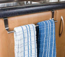 OVER DOOR KITCHEN TEA TOWEL DISHCLOTH HOLDER HOOK RAIL STAINLESS STEEL