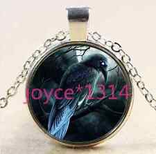 Crow in tree Cabochon Tibetan silver Glass Chain Pendant Necklace #XP-2559