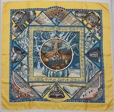 """Auth HERMES """"Au Son du Tam Tam"""" by Laurence Bourthoumieux Yellow Silk Scarf 0224"""