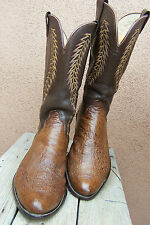 OLATHE Mens Cowboy Boots Soft Crushed Ostrich Brown Size 11D Tall Western Riding