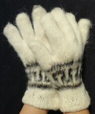 NEW, 100% ALPACA WOOL, HAND KNITTED GLOVES, CARDED, WHITE COLOR, ANDEAN, WARM