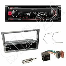 Kenwood KMM-203 USB Radio + Opel Agila 1-DIN KFZ Blende aluminium ISO Adapter