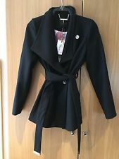 Ladies Ted Baker Short Wrap Collar Coat Black BNWT. Never Worn Size 1