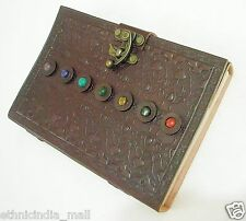 Celtic Stone Embossed Handmade LARGE Leather Journal Blank Book of Shadows Wicca