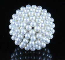 HUGE PEARL BALL FASHION COCKTAIL RING COSTUME JEWLERY SIZABLE LARGE R803S SILVER