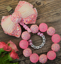 Personalised stunning pram charm  for baby girls boys ideal gift  pink beads