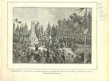 BESANCON INAUGURATION MONUMENT MORT GUERRE 1870  1886 GRAVURE ANTIQUE PRINT