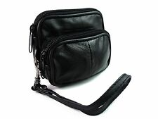 SOFT BLACK LEATHER COIN POUCH PURSE CAMERA WALLET PURSE WITH BELT LOOP & STRAP