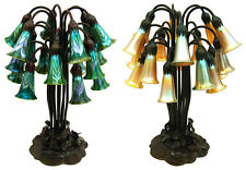 Lily Favrile Glass and Bronze Table Lamps, 18-light #2718