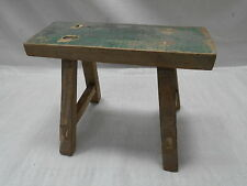 Vintage Handmade Small Chinese Milking Stool Wooden Green Paint #91