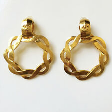 FABULOUS VINTAGE LARGE CHANEL CC LOGO DANGLE HOOP EARRINGS 97P MINT CONDITION