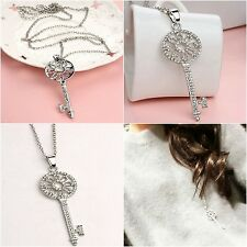 Vintage Silver Plated Crystal Rhinestone Flower Key Pendant Long Chain Necklace