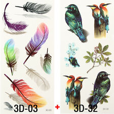 2x Style Temporary Tattoos 3D Bird Feather Removable Tattoo Sticker Waterproof
