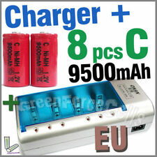 8 x C Size 9500mAh Battery + Rechargeable Charger D AA AAA 2A 3A 9V NIMH EU Red