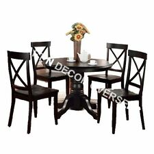 Comtempory Dining Set with 4 Chairs set of Shesham Wood in Black Colour