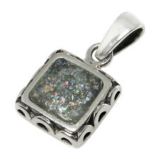 Sterling Silver Square Pendant 2,000 Year Old Antique Roman Glass (BTSNP2224/RG)