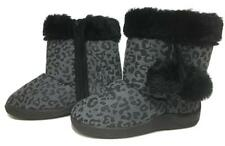 NEW size 7 GIRLS BLK/GRY FUR TRIM ZIP KIDS TODDLER RUBBER SOLE BOOTS SHOES