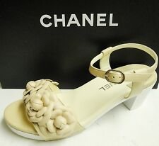 Chanel Camellia CC Logo Leather Open Toe Heels Sandals Shoes 37 15P