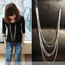 Hot Korean Retro Style 7 layer Long Tassel Pendant Necklace Silver Sweater Chain