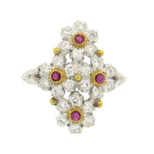 Buccellati 18k Gold Diamond Ruby Flower Ring